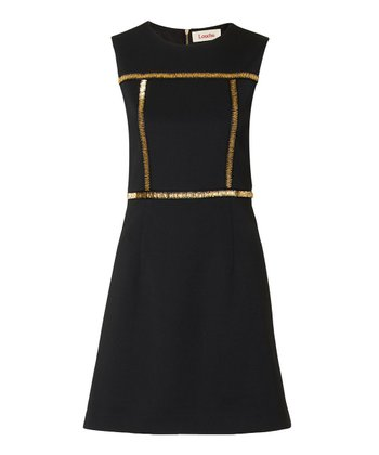 Black & Gold Sequin Queta Dress