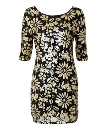 Gold & Black Sequin Floral Ria Dress
