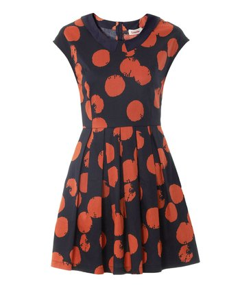 Navy & Orange Spot Spencer Dress