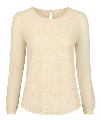 Cream Lace Chiffon Theo Top