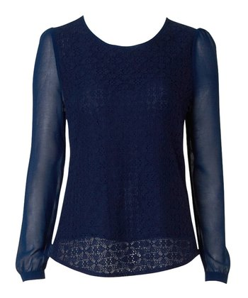 Navy Lace Chiffon Theo Top