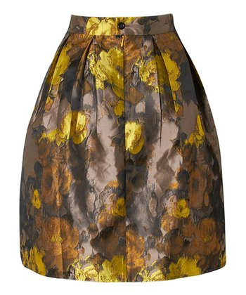 Yellow & Brown Jacquard Virginia Skirt