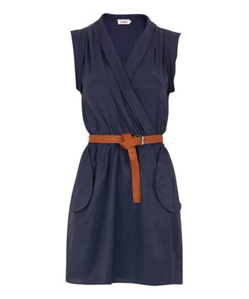 Navy Belted Zaza Dress