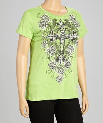 Green Cross Scoop Neck Tee - Plus