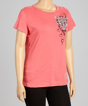 Coral Cross Scoop Neck Tee - Plus