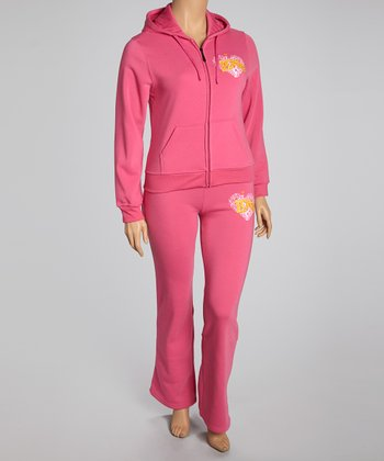 Fuchsia 'Love' Pants & Zip-Up Hoodie - Plus