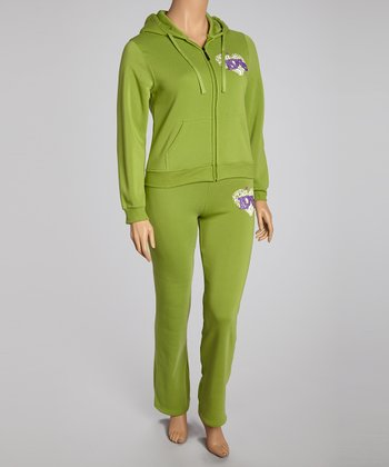 Green 'Love' Pants & Zip-Up Hoodie - Plus