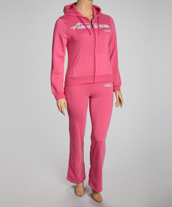Fuchsia 'Dream' Pants & Zip-Up Hoodie - Plus