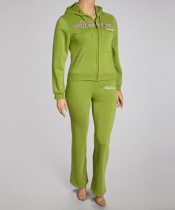Green 'Dream' Pants & Zip-Up Hoodie - Plus