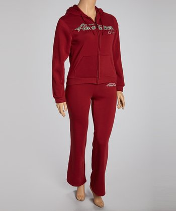 Maroon 'Dream' Pants & Zip-Up Hoodie - Plus
