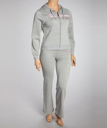 Gray 'Dream' Pants & Zip-Up Hoodie - Plus