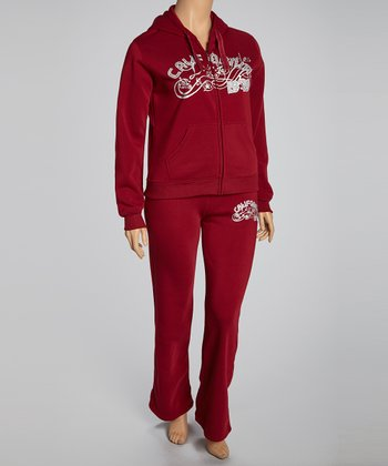 Maroon 'California' Pants & Zip-Up Hoodie - Plus