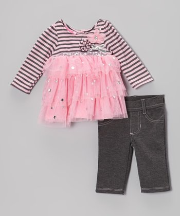 Pink Stripes & Spots Tiered Top & Gray Jeggings - Infant