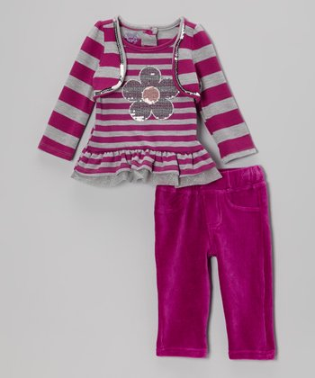 Purple Stripe Layered Top & Leggings - Infant
