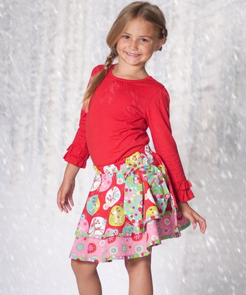 Red Top & Jingle Jelly Layered Skirt - Infant & Toddler
