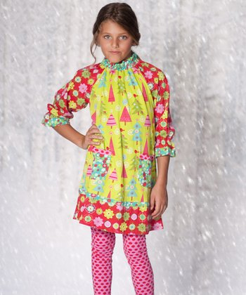 Lime Christmas Tree Dress & Leggings - Toddler & Girls