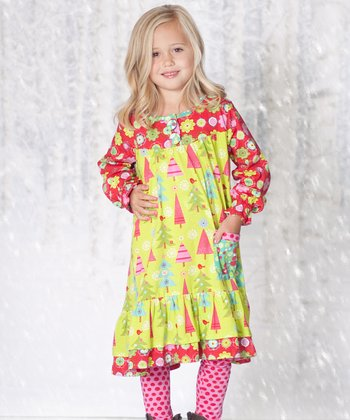 Lime Christmas Tree Renee Dress & Pink Leggings - Girls