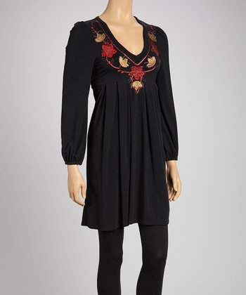 Black & Red Embroidered Empire-Waist Top