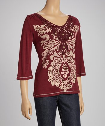 Ruby Red Crochet Collar Three-Quarter Sleeve Top