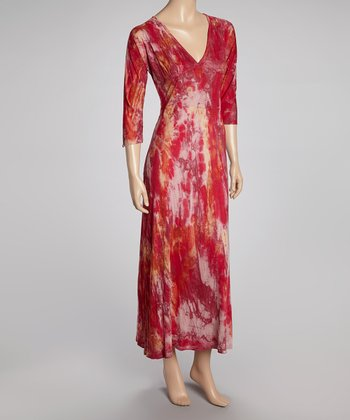 Pink Tie-Dye Empire-Waist Maxi Dress