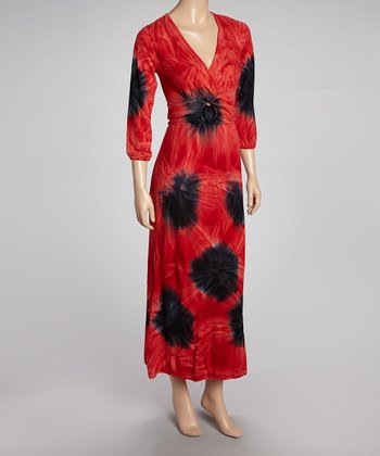 Red & Black Tie-Dye Empire-Waist Maxi Dress