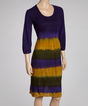 Purple & Yellow Dip-Dye Three-Quarter Sleeve Dress