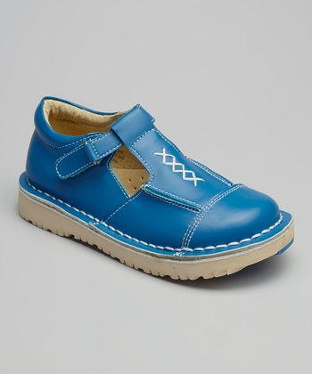 Denim Blue Cross-Stitch T-Strap Shoe