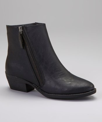 Black Zip-Up Link Ankle Boot