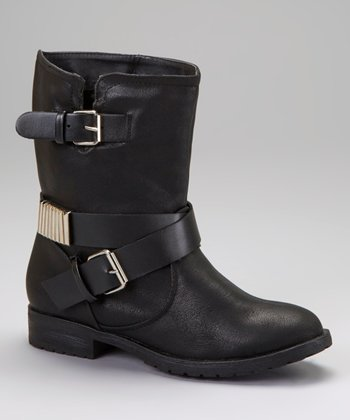 Black Double-Buckle Ankle Boot