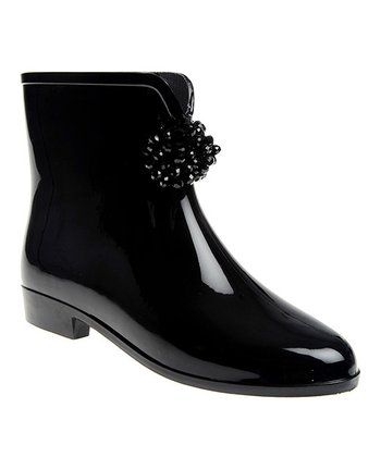 Black Shiny Rain Ankle Boot