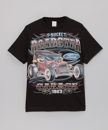 Black 'Roadster Garage' Tee - Toddler & Boys