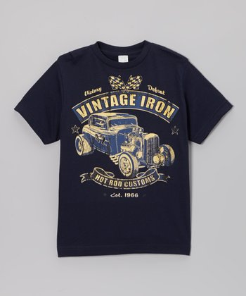 Navy 'Vintage Iron' Tee - Toddler & Boys