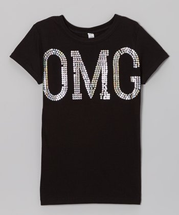 Black 'OMG' Shimmer Tee - Toddler & Girls