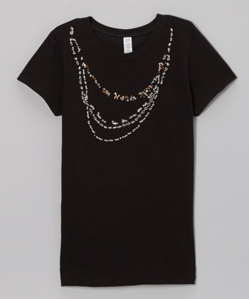 Black Shimmer Necklace Tee - Toddler & Girls