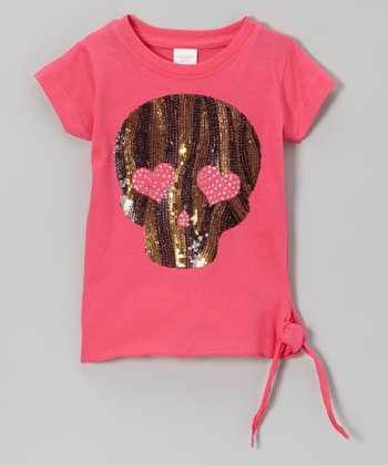 Hot Pink Sequin Skull Side-Tie Tee - Toddler & Girls