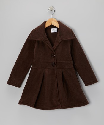 Brown Button Coat - Infant, Toddler & Girls