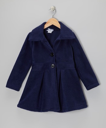 Navy Button Coat - Infant, Toddler & Girls