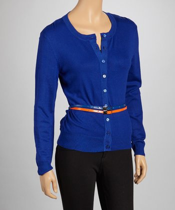 Royal Blue Double Belted Cardigan