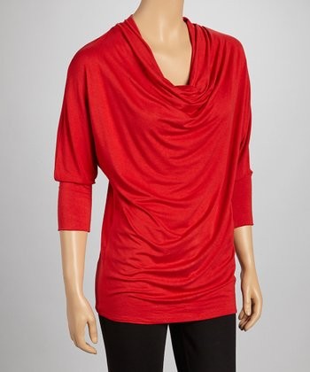 McKensie Red Three-Quarter Sleeve Drape Top