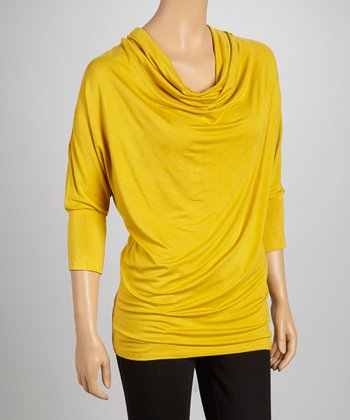 Gold Three-Quarter Sleeve Drape Top