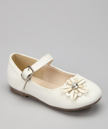 White Flower-Toe Mary Jane