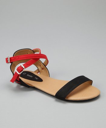 Black & Red Crisscross Ankle-Strap Sandal