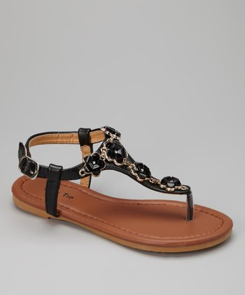 Black Flower Chain Sandal