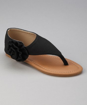 Black Block Side-Blossom Sandal
