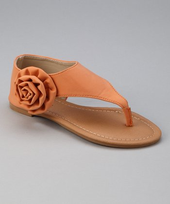 Light Orange Block Side-Blossom Sandal
