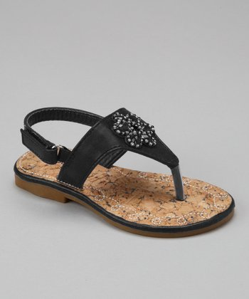 Black Floral Jewel Sandal