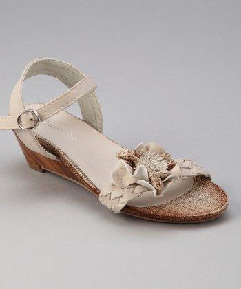 Beige Floral Wedge Sandal