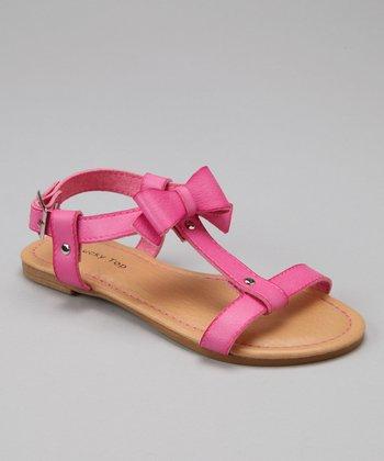 Fuchsia Bow T-Strap Sandal