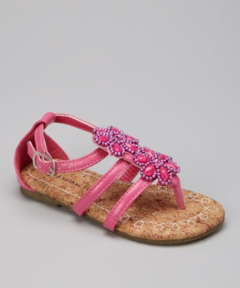 Fuchsia Beaded Strappy Sandal