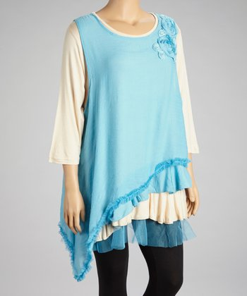 Blue & Cream Flower Top - Plus